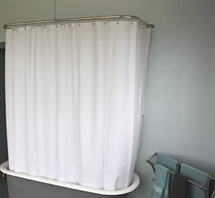 DL Extra Wide Vinyl Shower Curtain For A Clawfoot Tub White With Magnets 180quot