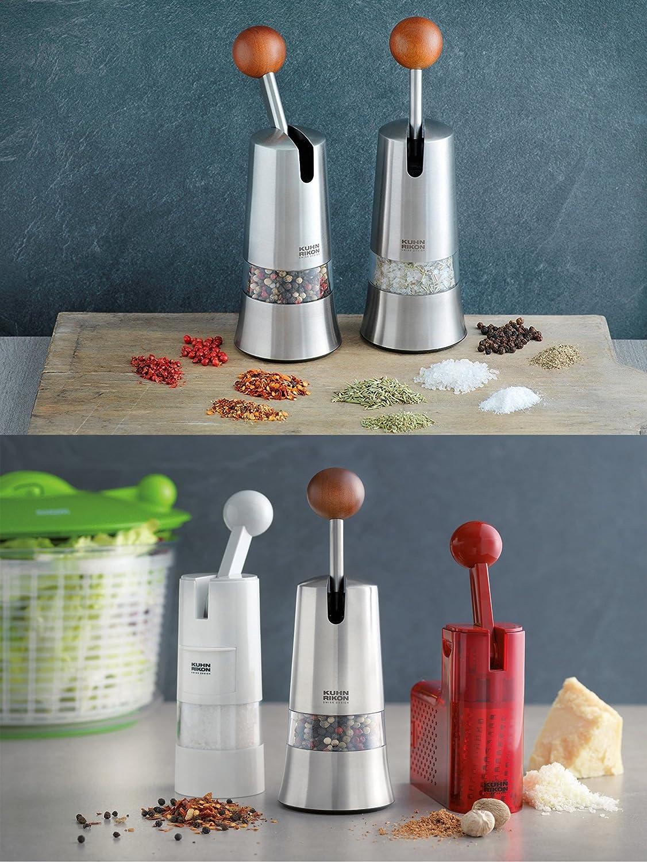 White Pepper and Spices Kuhn Rikon Adjustable Ratchet Grinder with Ceramic Mechanism for Salt