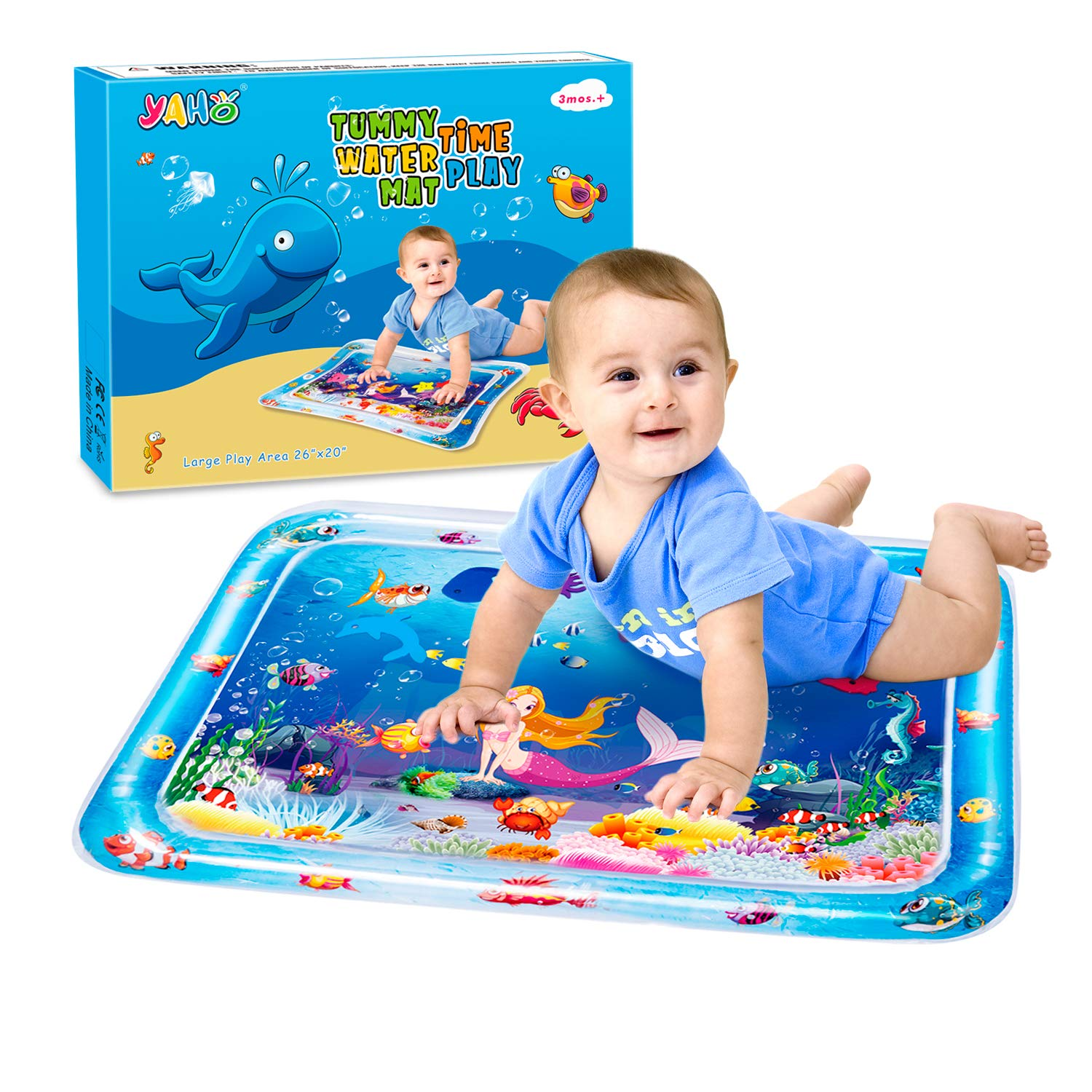 Early Development Activity Center Your Babys Stimulation Growth 2019 New 26 inch Large Inflatable Tummy Time Water Play Mat Infants /& Toddlers is The Perfect Fun Time YAHO