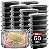 50-Pack Meal Prep Plastic Microwavable Food Containers For Meal Prepping With Lids 28 oz. 1 Compartment Black…