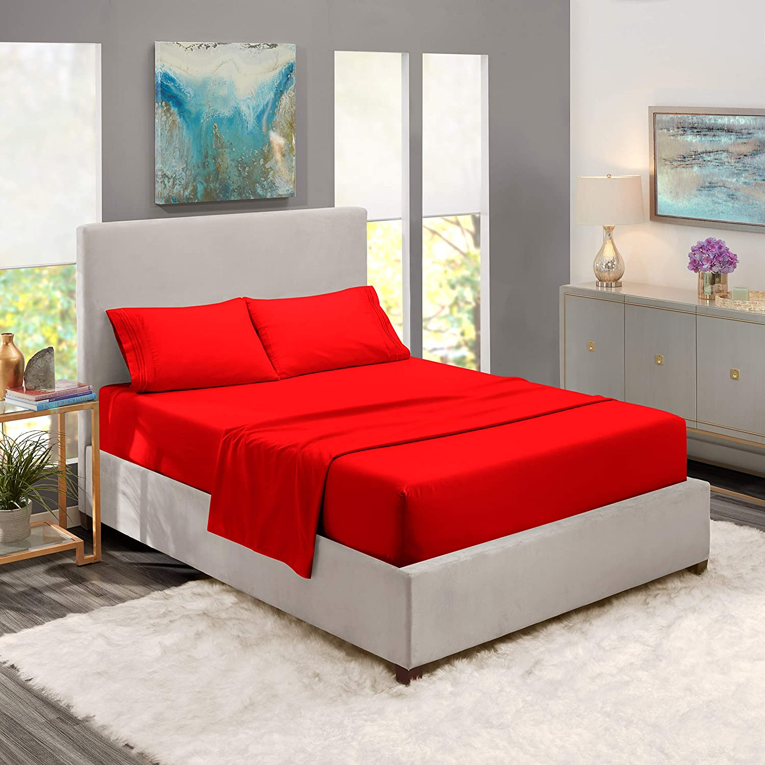 Nestl Bedding 4 Piece Sheet Set - 1800 Deep Pocket Bed Sheet Set - Hotel Luxury Double Brushed Microfiber Sheets - Deep Pocket Fitted Sheet, Flat Sheet, Pillow Cases, Olympic Queen - Cherry Red