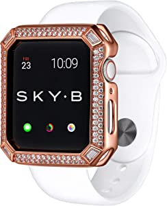 SkyB Deco Double Halo Protective Jewelry Case for Apple Watch Series 1, 2, 3, 4, 5, 6, SE Devices - Rose Gold Color for 40mm Apple Watch