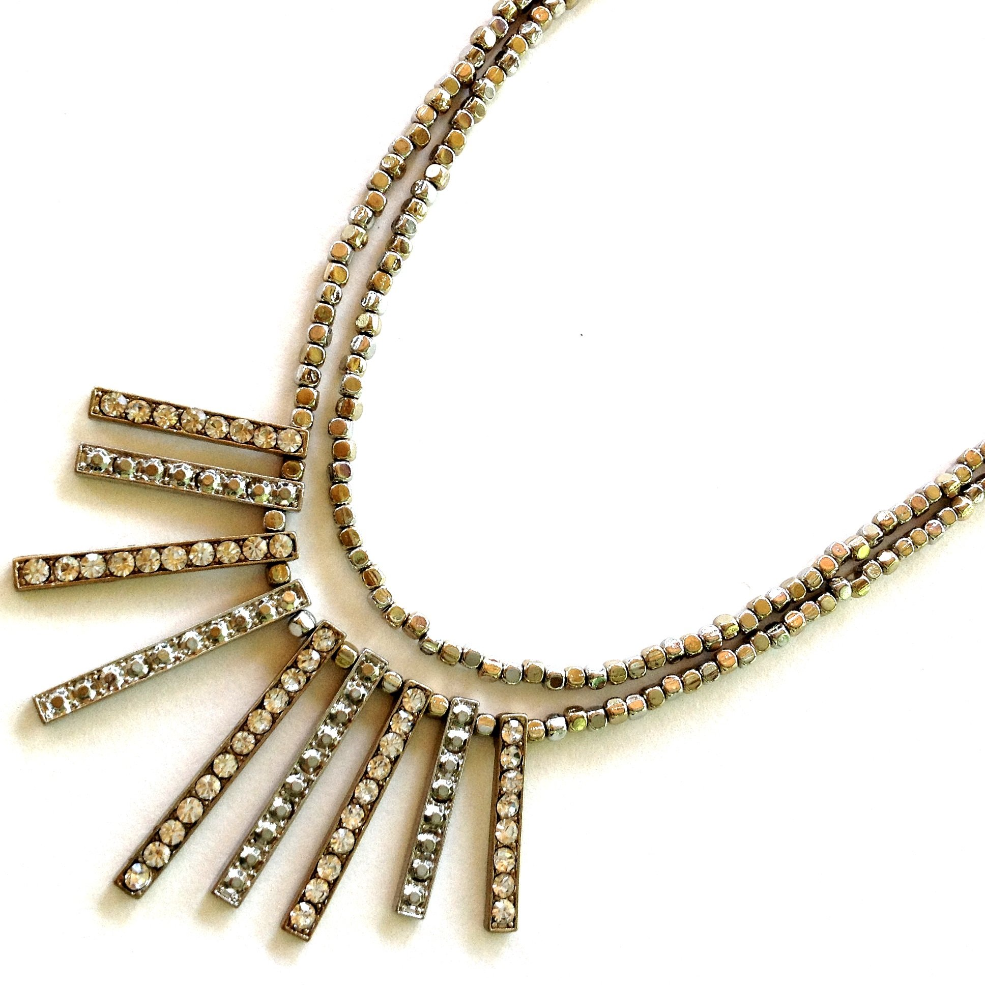 Statement Gold Silver Design Spike Fringe Crystal Square Beaded Women's Fashion Necklace