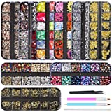 Artdone 9 boxes Nail Rhinestones,Nail Gems Nail Diamonds,Nail Art Studs Nail Crystals Nail Sequins for Nails Kit with 1…
