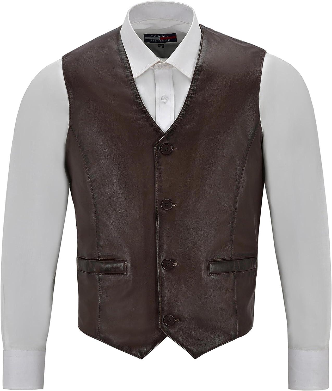 Smart Range Mens Real Brown Leather Waistcoat Party Fashion Stylish Napa Leather Vest 5226