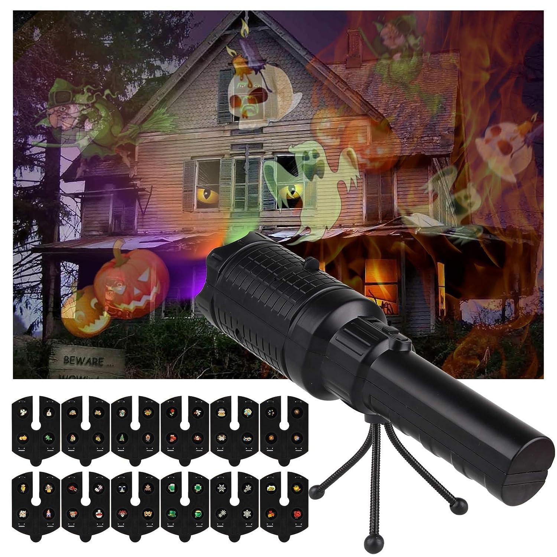 OOTOO LED Projektor Taschenlampe Projektionslampe mit 12pcs verschiedene Filme und Stativ USB-Lade, Weihnachtslicht Projektor Feiertagsdekoration für Weihnachten Halloween Geburtstag Party, gutes Kinder Weihnachtsgeschenk & Spielzeug