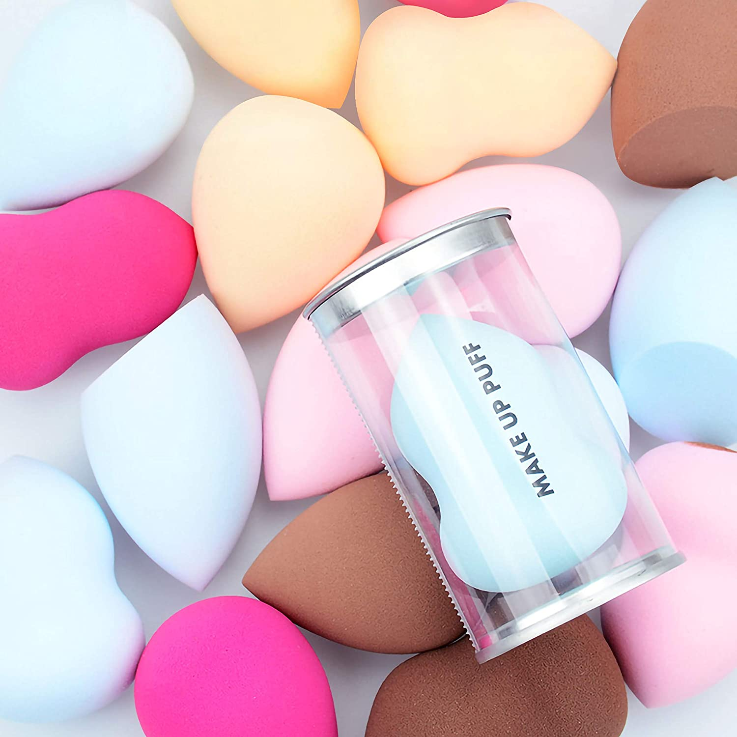 Ryalan 3 Pcs Makeup Sponge with Beauty Blender Holder Set Foundation Blending Sponge Latex-free Makeup Sponges for Concealer, Liquid, Cream and Powder, Sensitive and All Skin Types (3+1 Pcs, Blue)