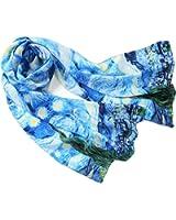 Prettystern - peinture foulard de soie 160cm van Gogh oeuvres d'art Roulotté main - de nombreux motifs