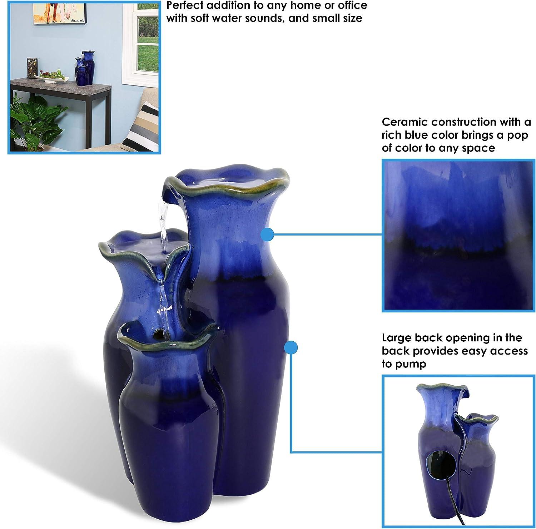 "Sunnydaze Tiered Blue Ceramic Glazed Pitchers Indoor Tabletop Fountain 11/"""