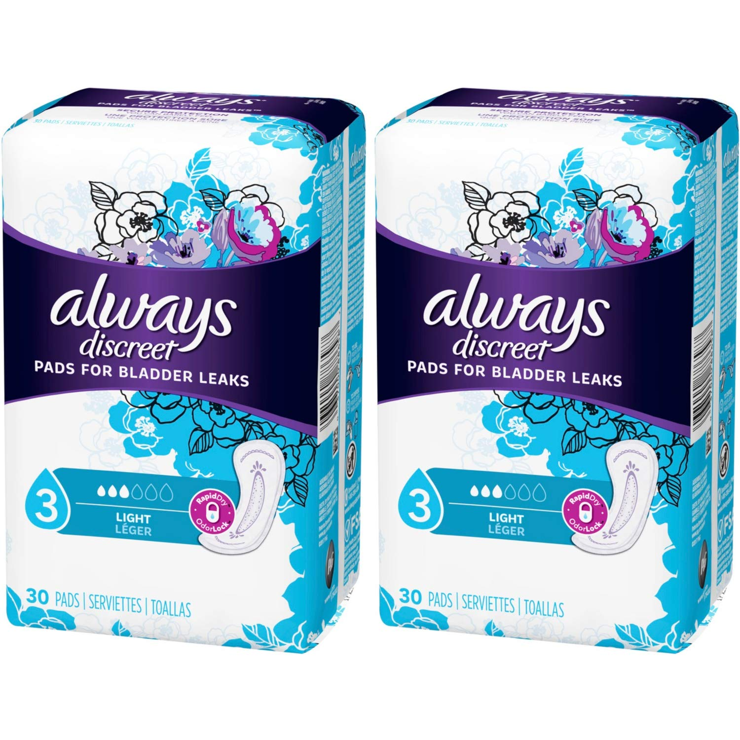 Always Discreet, Incontinence Light Pads, 3 Drops, 30 Pads each (Value Pack of 2): Amazon.com: Grocery & Gourmet Food