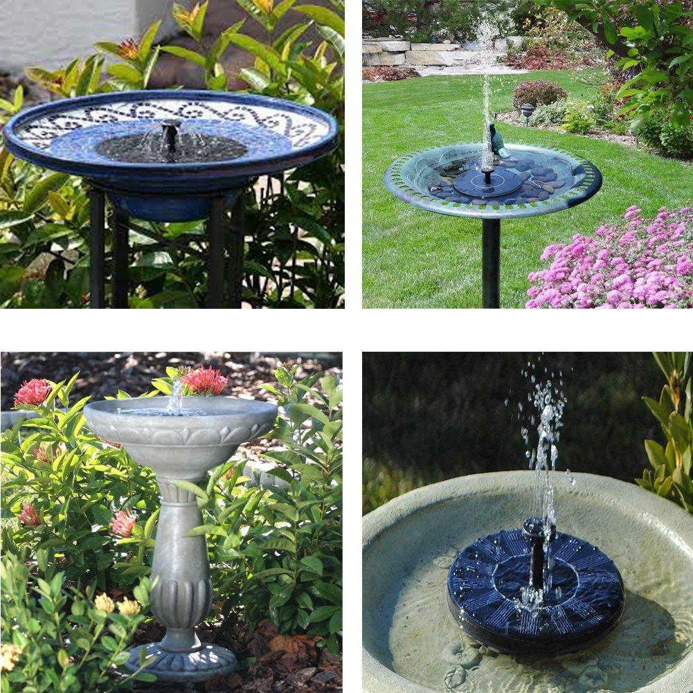 Skywee Upgraded Solar Fountains, Solar Powered Fountain Pump, 1.5W Water Fountain Birdbath Solar Powered Pump, Waterproof, Free Standing, Submersible Outdoor Water Pump, Solar Pannel Kit Pond, Pool