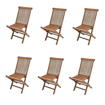 Lot de 6 chaises de jardin Modena, pliantes, bois de teck ...