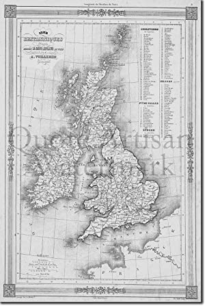 Tpck B W Vintage Map United Kingdom From 1852 Photo Print