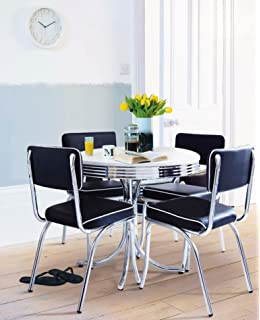 2510a5553f6 NEW Rydell American Diner Style Chrome-Plated Round 4 Seat Dining Table -  Black