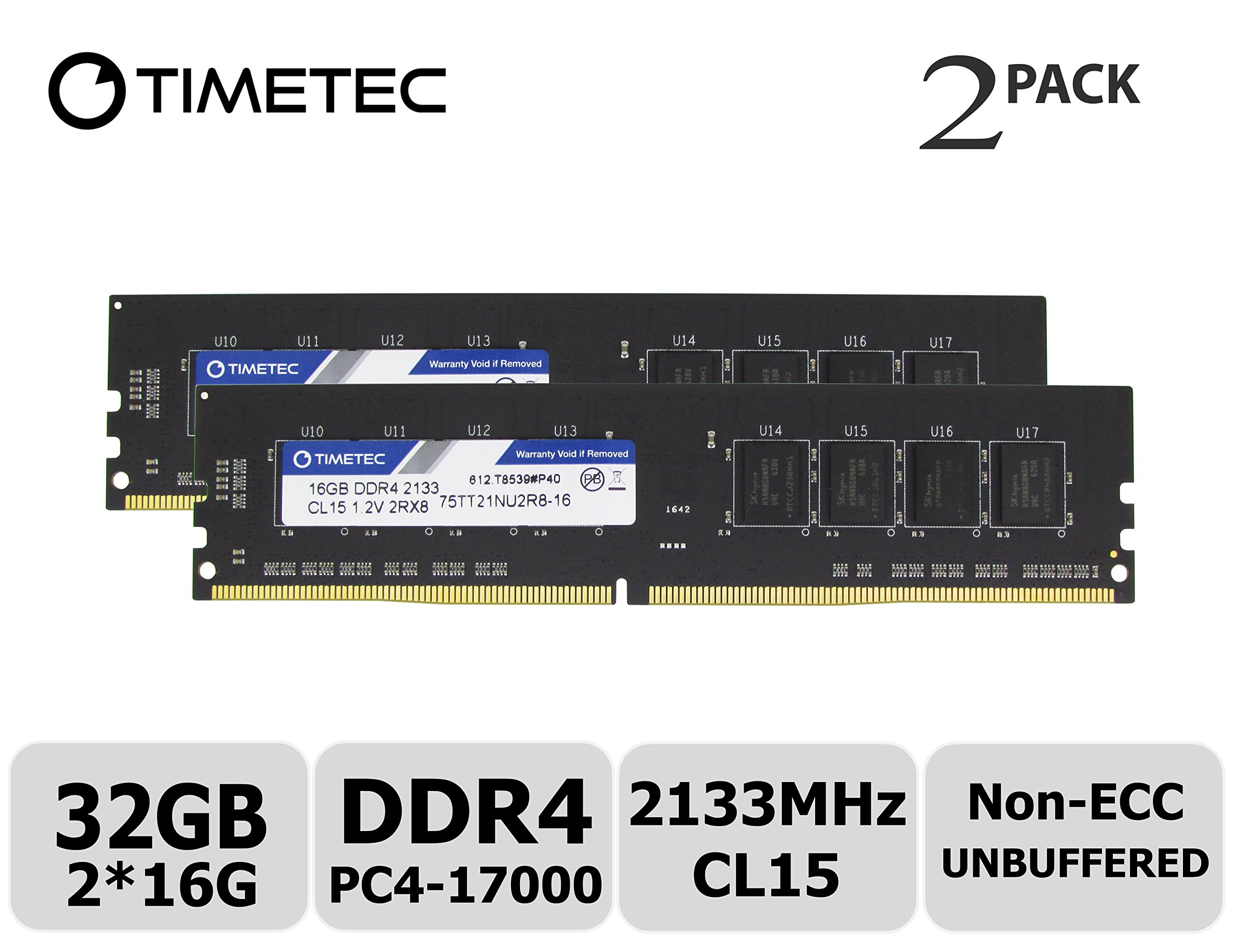 Memoria RAM 32GB Timetec Hynix IC KIT(2x16GB) DDR4 2133MHz PC4-17000 Non ECC Unbuffered 1.2V CL15 2Rx8 Dual Rank 288 Pin