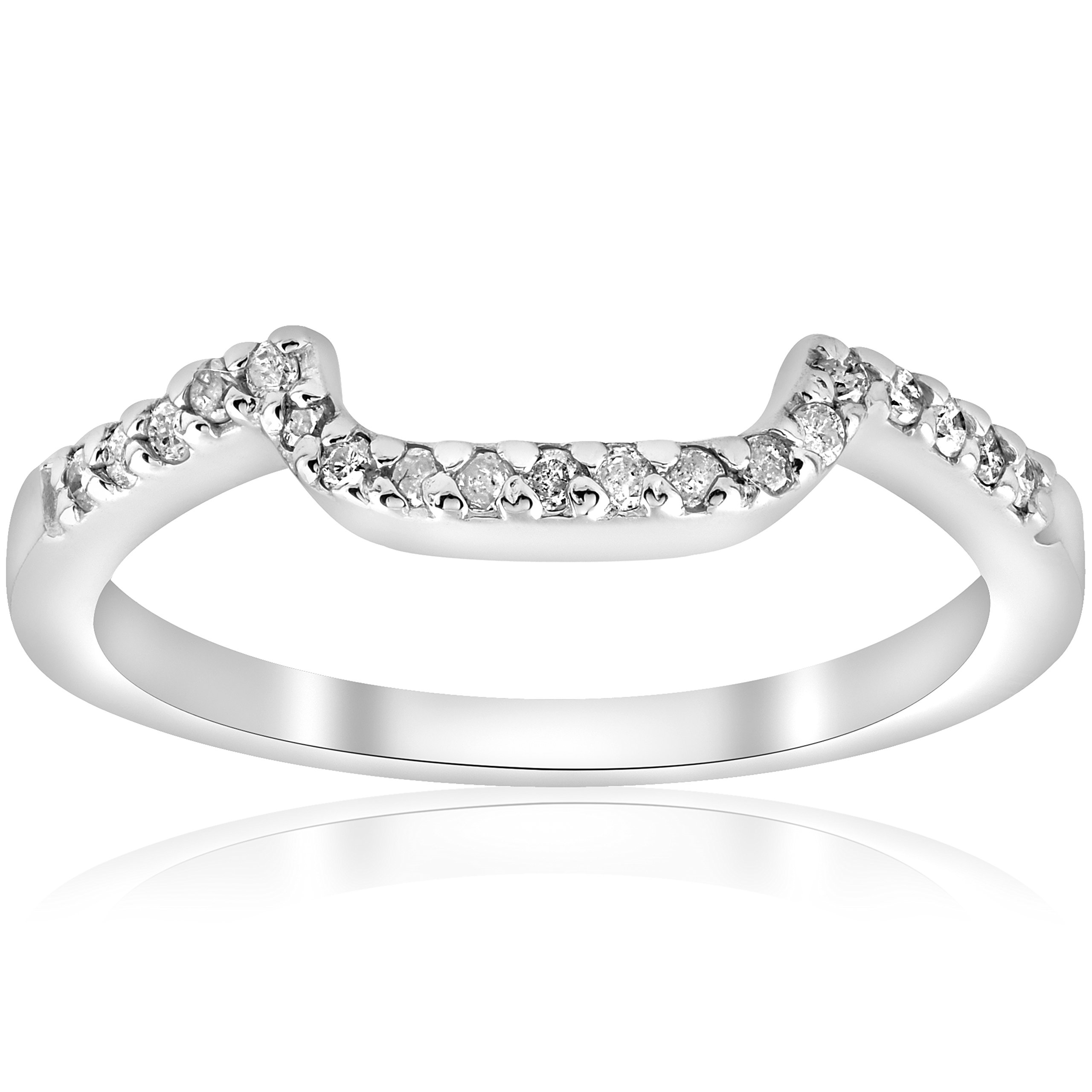1/6ct Curved Notched Diamond Wedding Ring 14K White Gold