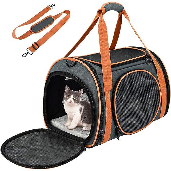 OKMEE Transportin Gatos Perros, Transportín Mascotas, Transportadora de Mascotas con Soporte Colchón Blando Tapizado, Transpirable, Esructura Sólida, Espaciosa Cómoda, para Tren/Coche/Avión: Amazon.es: Productos para mascotas