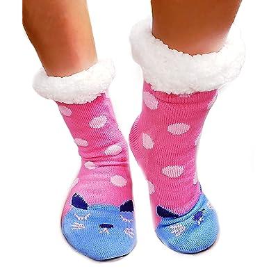 Deluxe Sherpa Fleece Lined Knit Non-Slip Polka Dot Cat Slipper Socks (DESIGN 5) at Amazon Women's Clothing store
