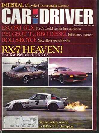 CAR & DRIVER Mazda RX-7 Ford Escort CLX Imperial Peugeot road tests 1 1981 at Amazons Entertainment Collectibles Store