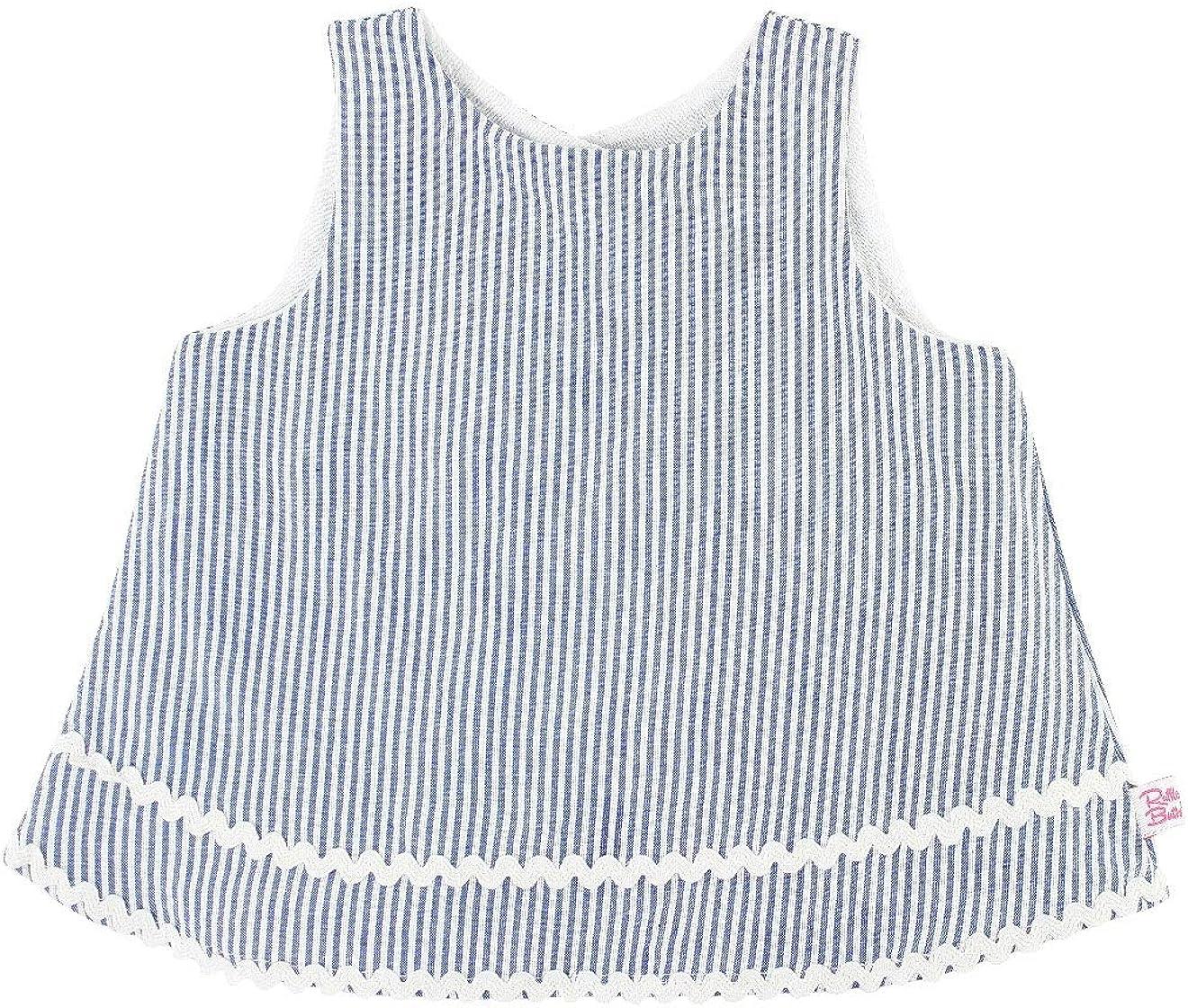 RuffleButts Baby/Toddler Girls Striped Seersucker Open Back Swing Top Tank