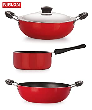 Nirlon Non-Stick Aluminium Cookware Set, 3-Pieces, Red (2.6mm_KD13_DKDB_SPM_3) Pot & Pan Sets at amazon