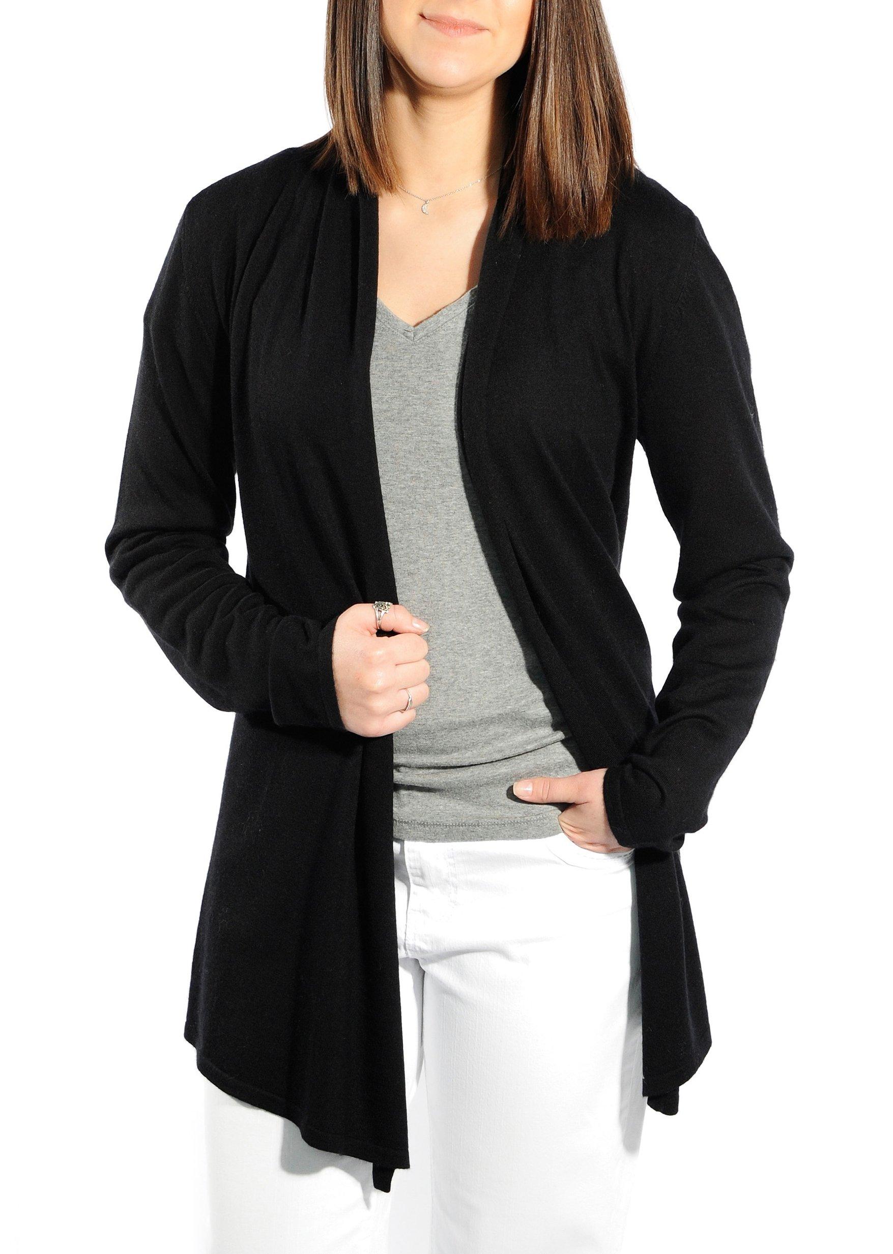 Gigi Reaume 100% Cashmere Women's Sweater, Open Front Long Cardigan, Swing Style, Ultra Lightweight (Medium, Black)