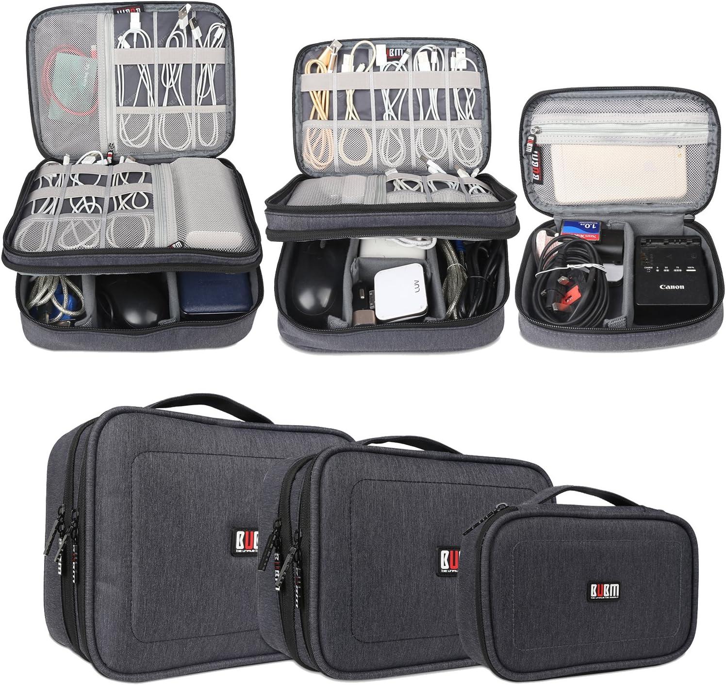 BUBM Estuches para Cables Bolsa para Aparato Electronico 3 Piezas para Guardar Memorias de USB Bolso de Ordenados Baterias Gadgets Mochilas de Cargador iPad/iPad Mini, Azul Oscuro