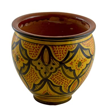 Flower Pot Moroccan Spanish Garden Drain Hole Ceramic Planter Handmade Yellow