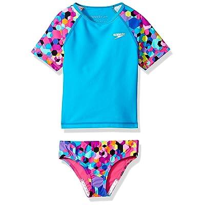 Speedo Girls Short Sleeve Printed Rash Guard Two Piece Swim T-Shirt/Shorts Set