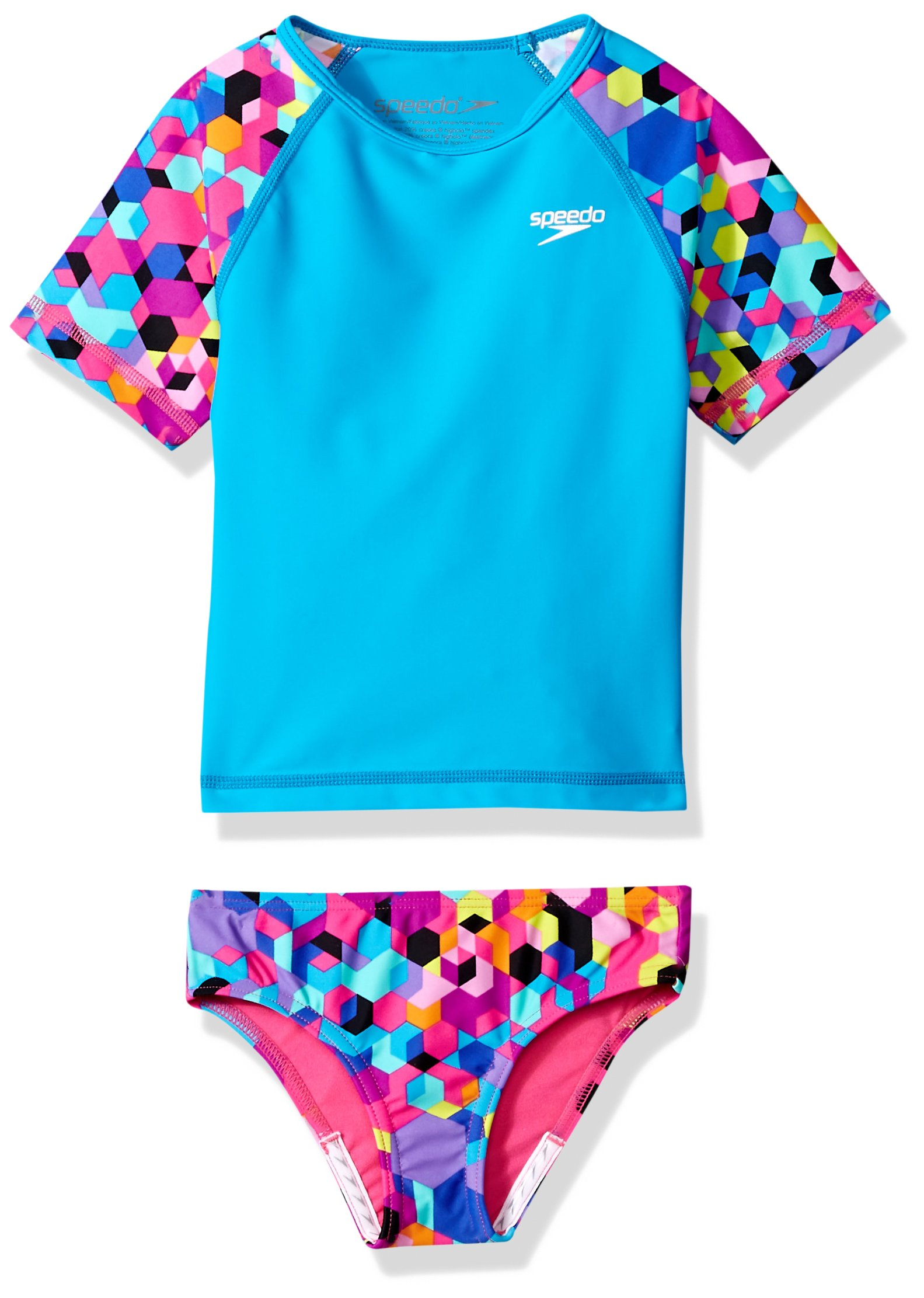Speedo Girls Printed 4-6X Two Piece Set, Blue, Size 6
