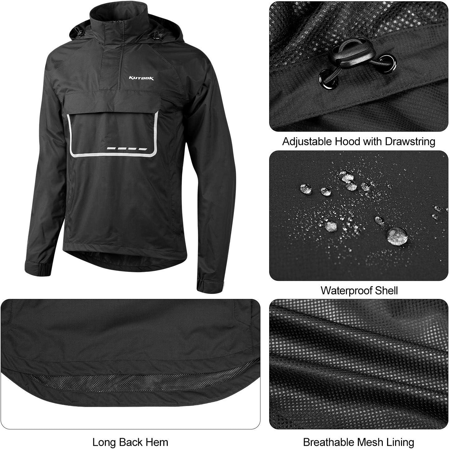 KUTOOK Veste de Pluie pour Homme imperm/éable Windbreaker Veste Coupe-Vent Respirante avec Capuche L/ég/ère Cyclisme Marche Randonn/ée de Plein XC002