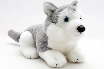 Pequeño Husky trineo perro tumbado gris de color blanco con ojos azules * 22 cm *