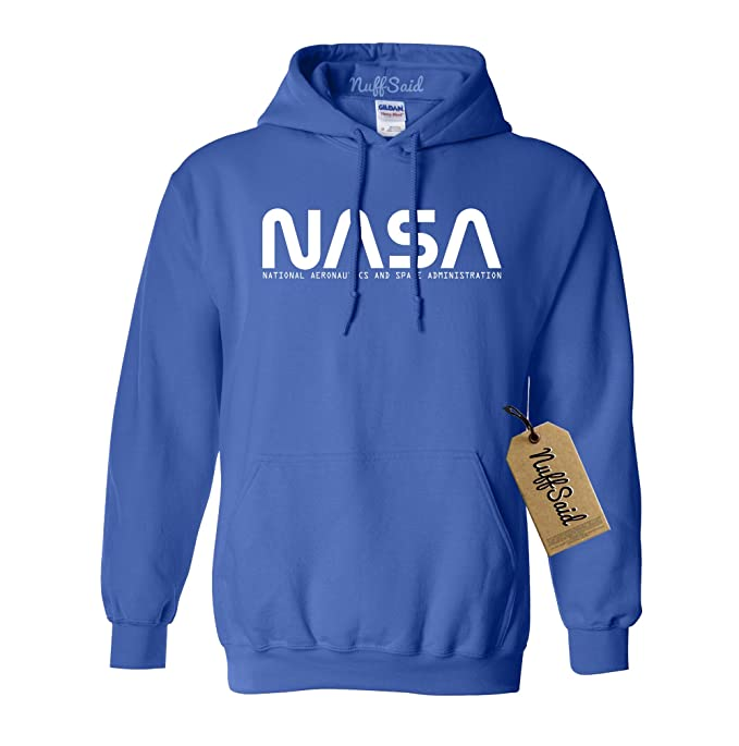 Amazon.com: NuffSaid NASA Font Logo Hooded Sweatshirt Sweater Pullover - Unisex Hoodie: Clothing