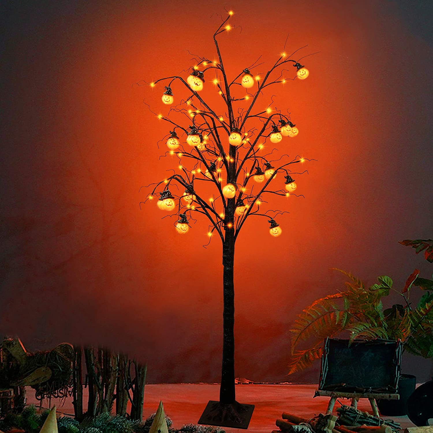 Twinkle Star 6FT Halloween Decorations Black Spooky Tree, Glittered with 96 LED Orange Lights and 24 Pumpkins, 24V 3.6W Low Voltage Lighted Artificial Tree for Indoor Holiday Party All Saints Day