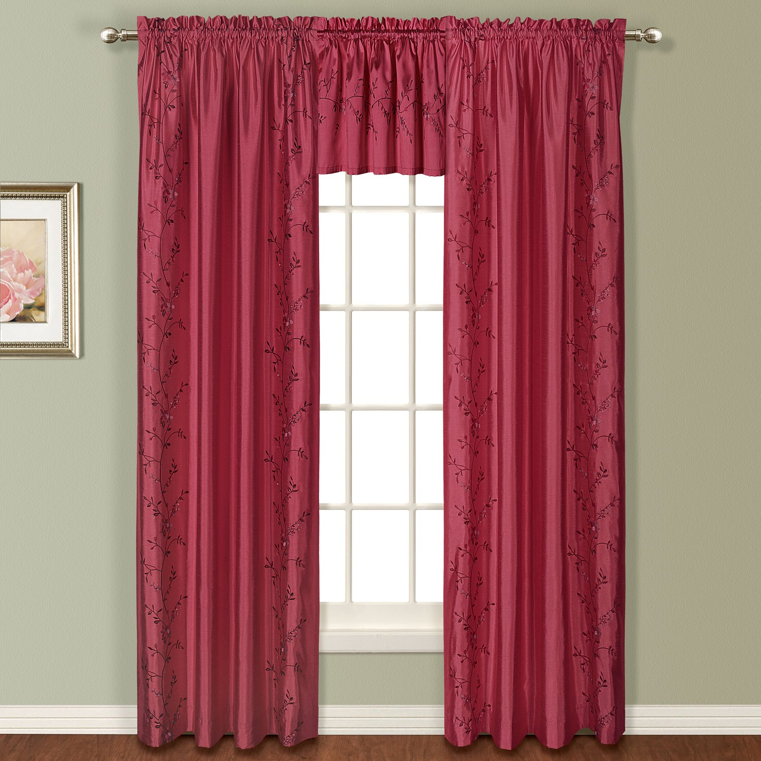 United Curtain Addison Window Curtain Panel, 54 by 63-Inch, Burgundy