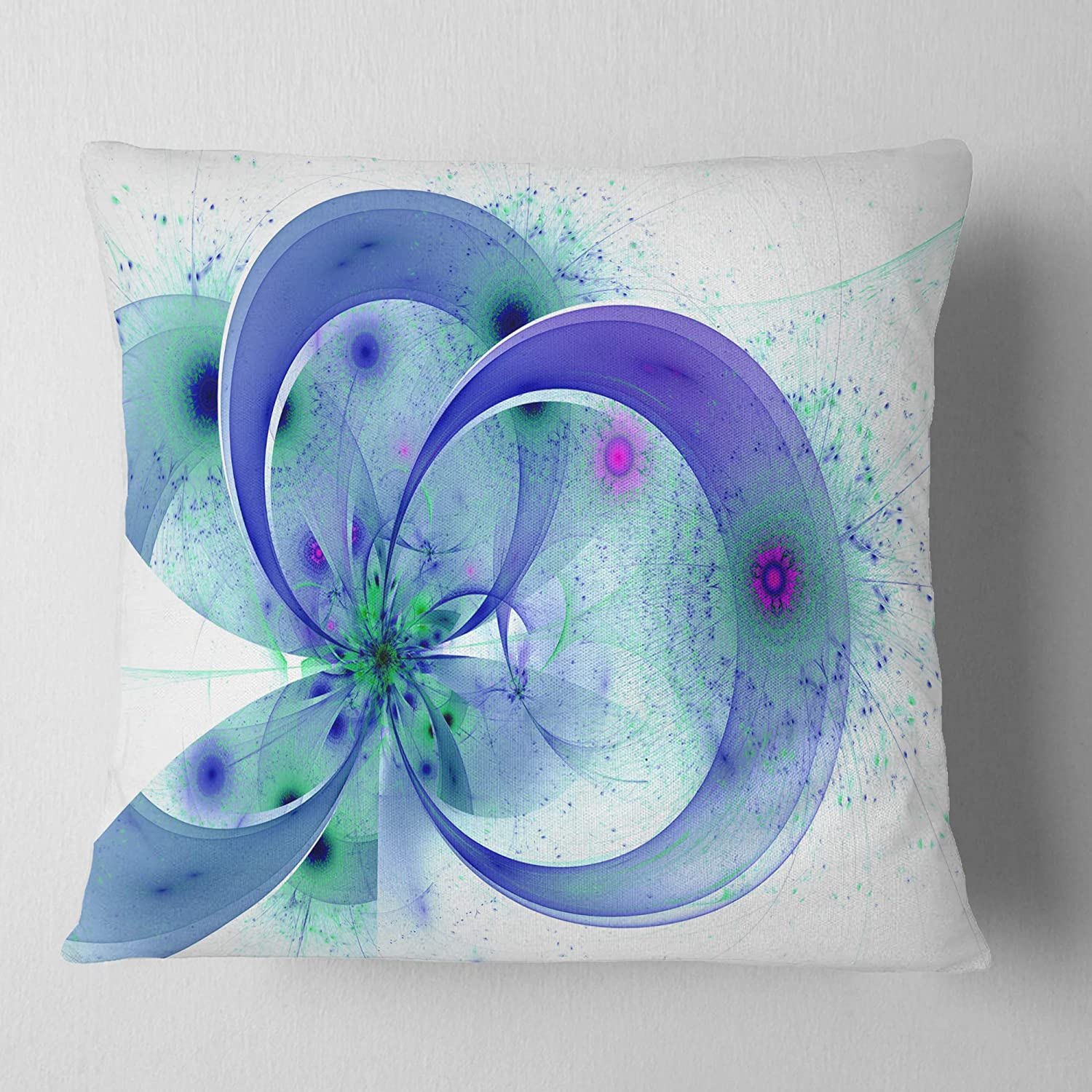 Insert Printed On Both Side Designart CU12174-16-16 Blue Fractal Flower with Curved Petals Floral Cushion Cover for Living Room Sofa Throw Pillow x 16 in