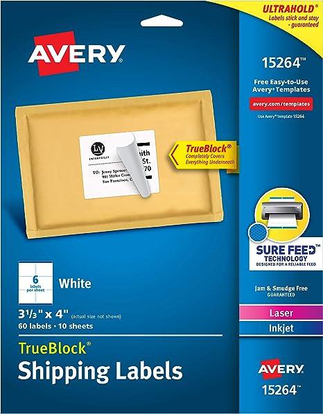 Amazon.com: Avery Etiquetas De Envío Con TrueBlock, Laser ...