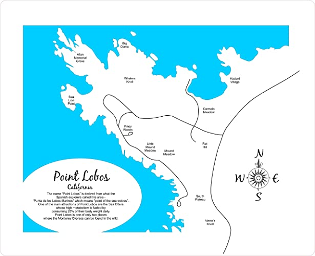 Amazon.com: Point Lobos, California: Framed Wood Map Wall Hanging ...