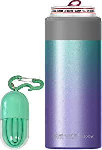 Asobu Skinny Can Cooler Insulated Stainless Steel Sleeve for a Slim 12 Ounce Can With a Reusable Straw (unicorn))