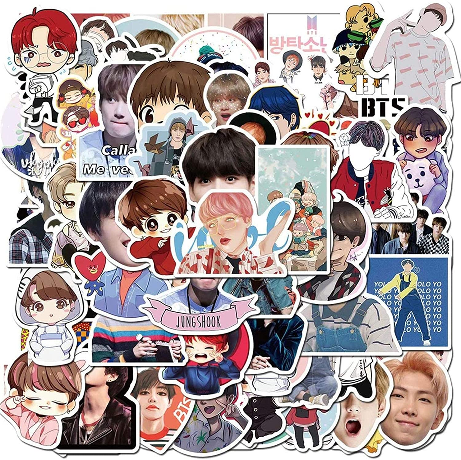 Water Bottles Pop Singer BTS Stickers 126PCS for Laptop and Water Bottles,Waterproof Durable Trendy Vinyl Laptop Decal Stickers Pack for Teens Travel Case Computer