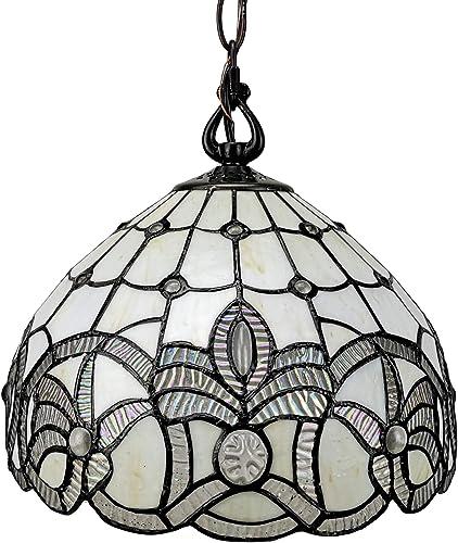 Amora Lighting AM282HL12B Lighting Tiffany Style White Ceiling Fixture