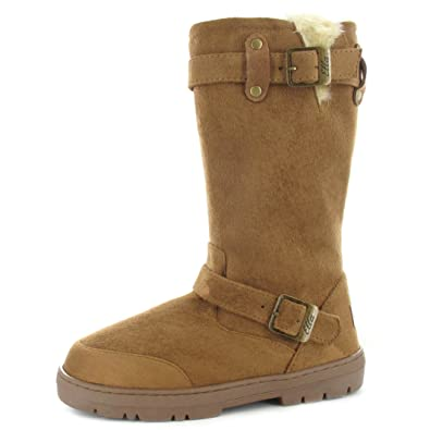9f24317bf Ella Ladies Faux Suede Fur Lined Tall Warm Winter Buckle Biker Snow Boots- Harley  Amazon.co.uk  Shoes   Bags
