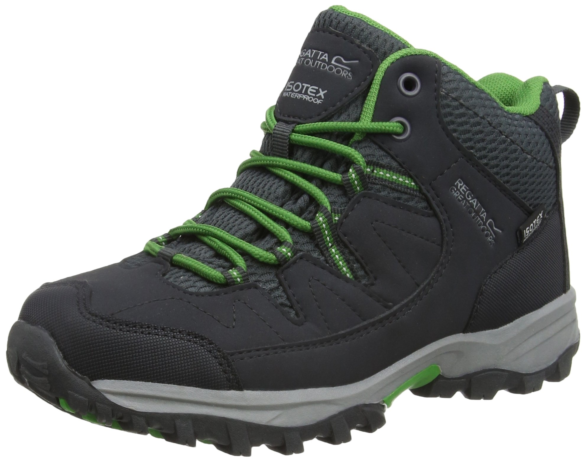 Regatta Great Outdoors Childrens/Kids Holcombe Mid Cut Waterproof Walking Boots (US 2) (Seal Gray/Green)