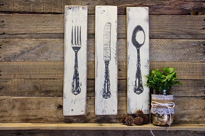 Rustic Kitchen Decor Silverware Sign Fork Knife Spoon Wood Kitchen Art