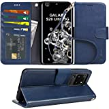 Arae Case for Samsung Galaxy S20 Ultra PU Leather Wallet Case Cover [Stand Feature] with Wrist Strap and [4-Slots] ID&Credit