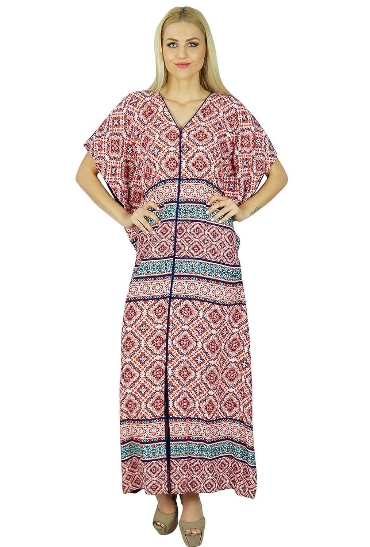 Bimba Frauen lang Maxi Kaftan Rosa Rayon Kaftan Gesmoktes Zurück Kleid