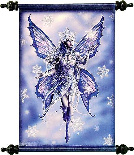 Design Toscano Snow Fairy Canvas Artist Anne Stokes Wall Scroll, Full Color