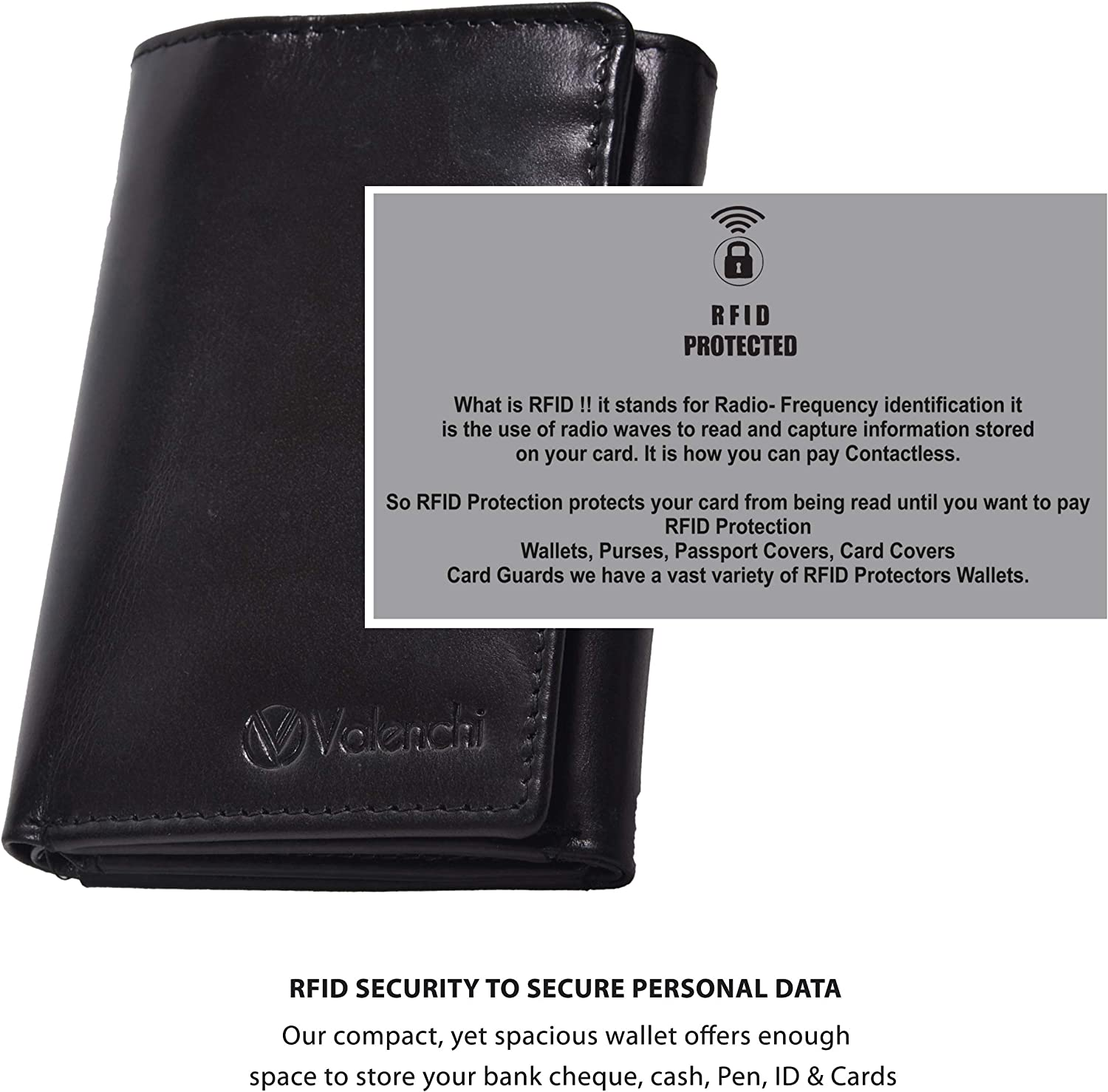 RFID Leather Trifold Wallet with 9 card slots,2 Note pocket coin pocket /& ID window