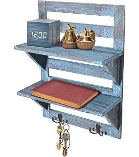 comfify rustikales wandregal landhausdekor fur kuche oder bad vintage wandregal mit zwei doppelten eisenhaken