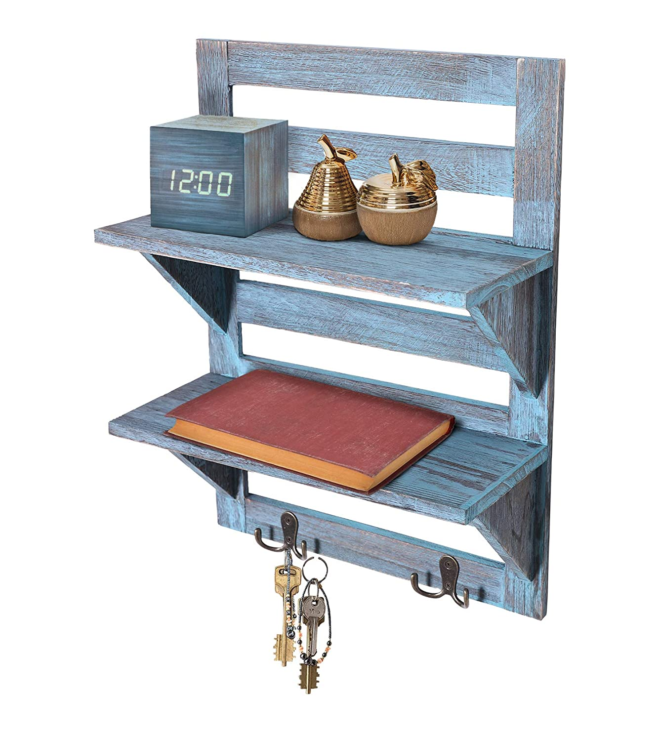 Comfify Rustic Wall Mounted Shelves – Kitchen or Bathroom Farmhouse Rustic Décor – Vintage Wall Shelves with Two Double Iron Hooks & 2-Tier Storage Rack – Decorative Wall Shelf Organizer- Rustic Blue